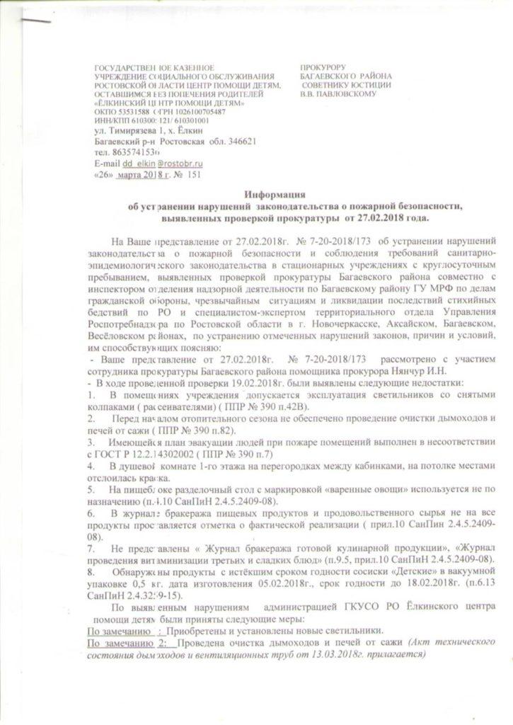 Предписания контролирующих органов за 2018 год