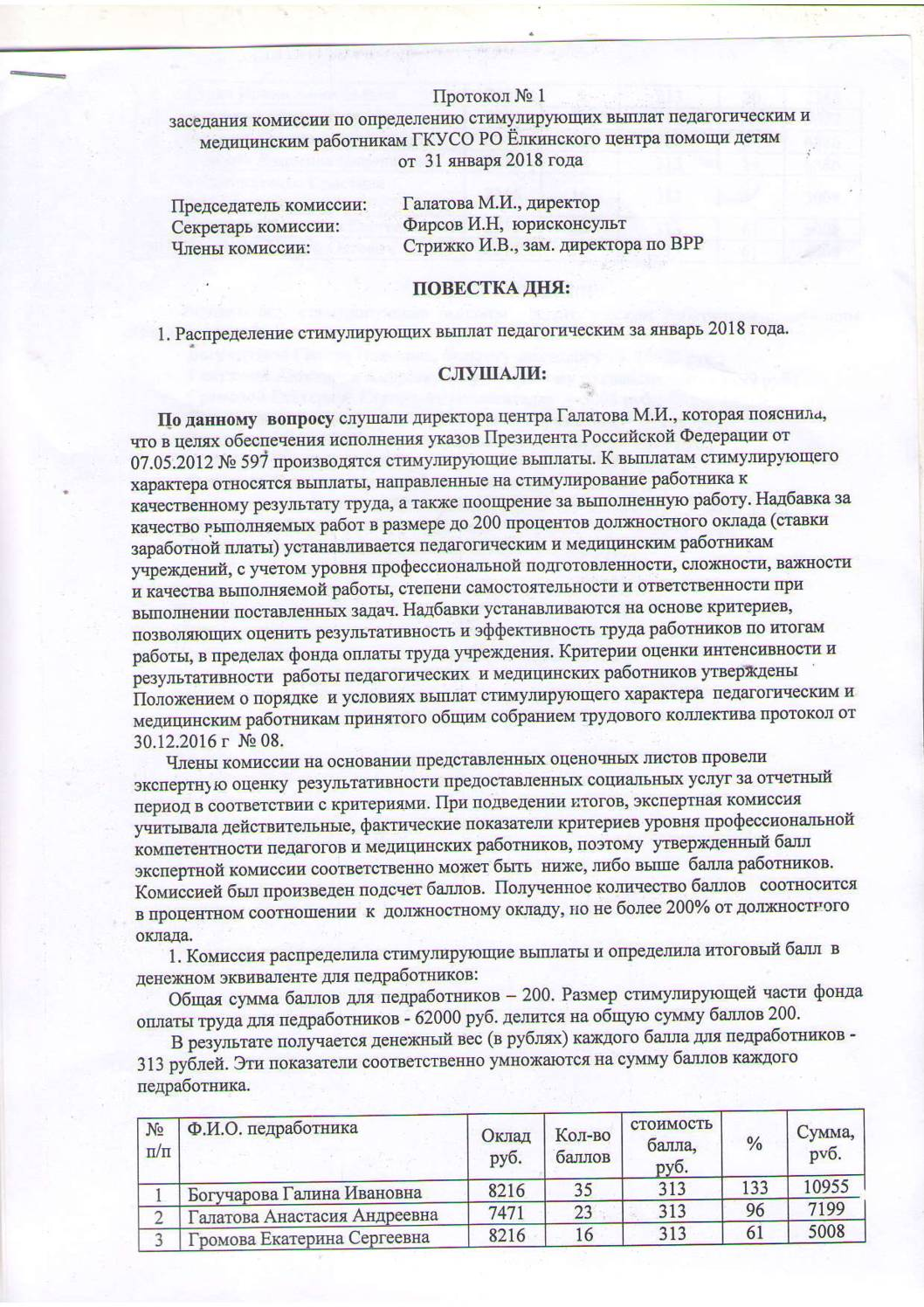 Протокол заседания комиссии по определению стимулирующих выплат педагогическим и медицинским работникам №1 от 31.01.2018