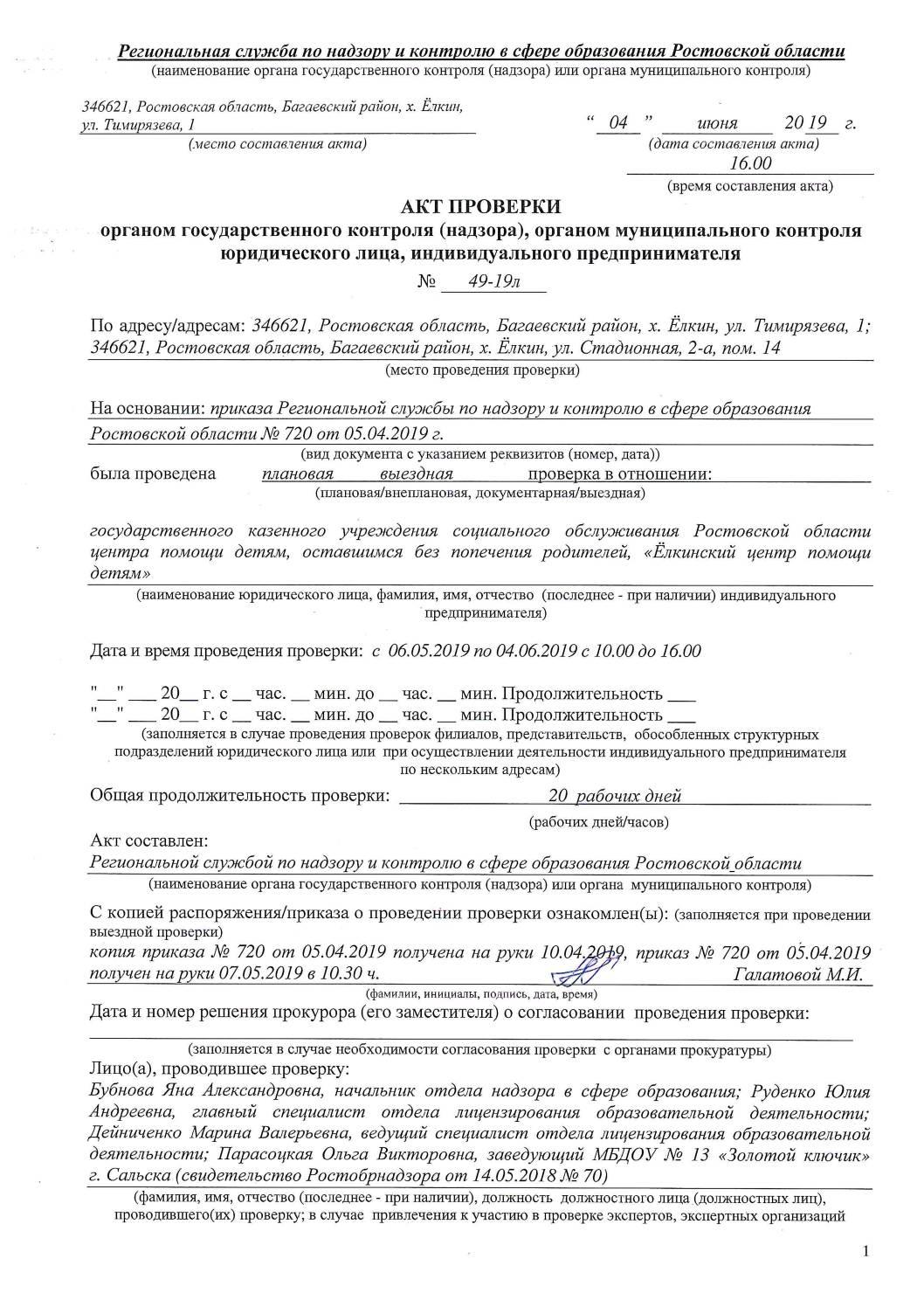Акт Проверки Рособрнадзор 04.06.2019 год