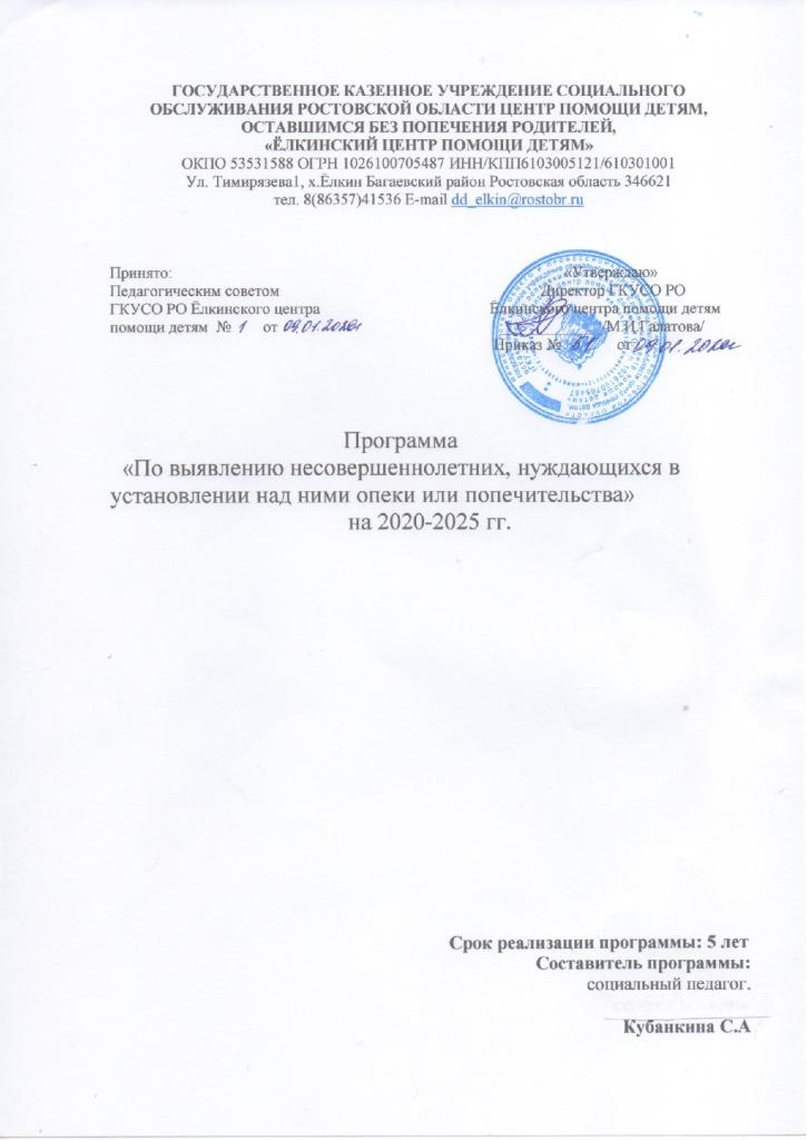 thumbnail of Ёлкинский ЦПД.Программа по выявлению несовершеннолетних, нууждающихся в установлении над ними опеки или п